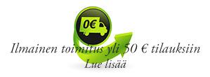 Ilmainen toimitus yli 50 € tilauksiin kuluttajille