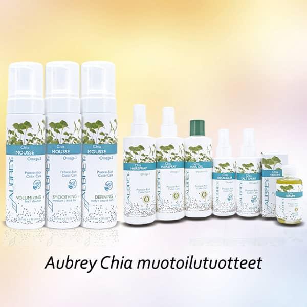 Aubrey Chia muotoilutuotteet sisältävät luomuchiasiemenöljyä